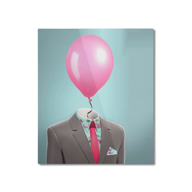 Balloon head and Flamingo shirt Home Mounted Aluminum Print by Vin Zzep's Artist Shop