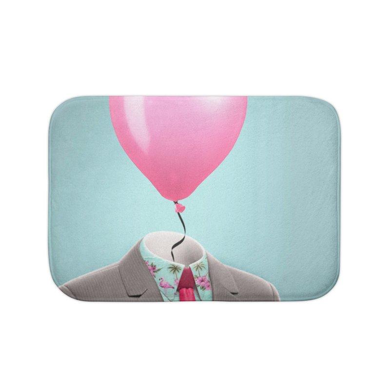 Balloon head and Flamingo shirt Home Bath Mat by Vin Zzep's Artist Shop