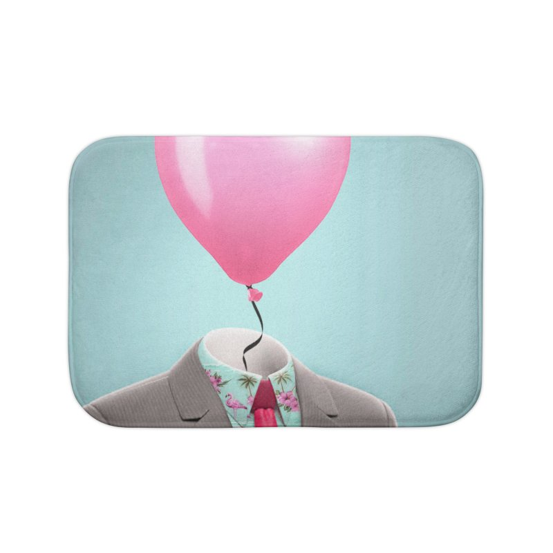 Balloon head and Flamingo shirt Home Bath Mat by Vin Zzep's Artist Shop