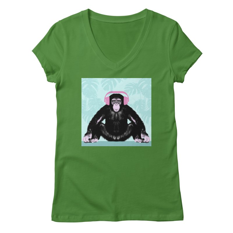 Jungle Music 2 Women's Regular V-Neck by Vin Zzep's Artist Shop