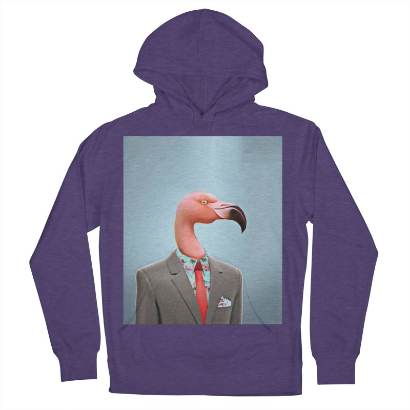 Flamingo Suit Men's French Terry Pullover Hoody by Vin Zzep's Artist Shop