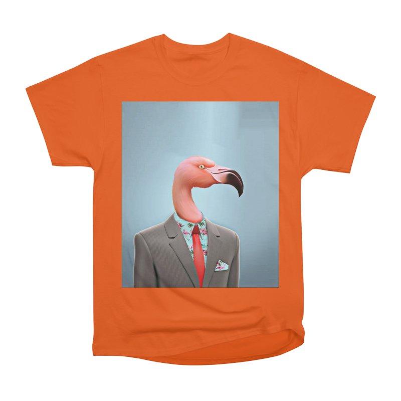 Flamingo Suit Women's Heavyweight Unisex T-Shirt by Vin Zzep's Artist Shop