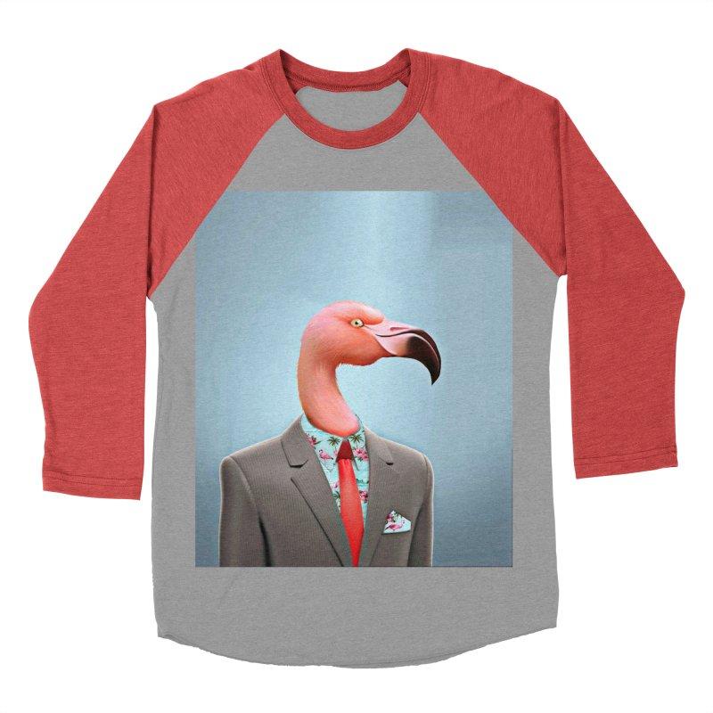 Flamingo Suit Women's Baseball Triblend Longsleeve T-Shirt by Vin Zzep's Artist Shop