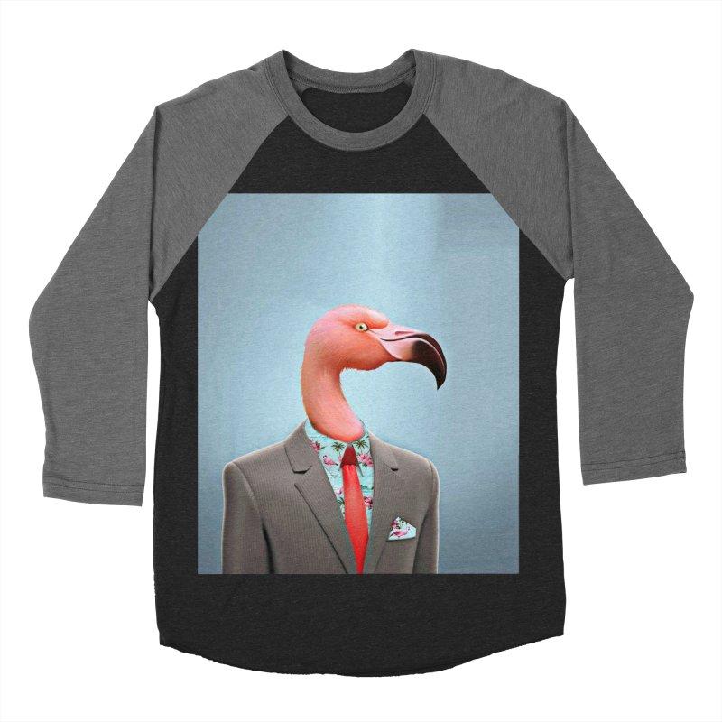 Flamingo Suit Men's Baseball Triblend Longsleeve T-Shirt by Vin Zzep's Artist Shop