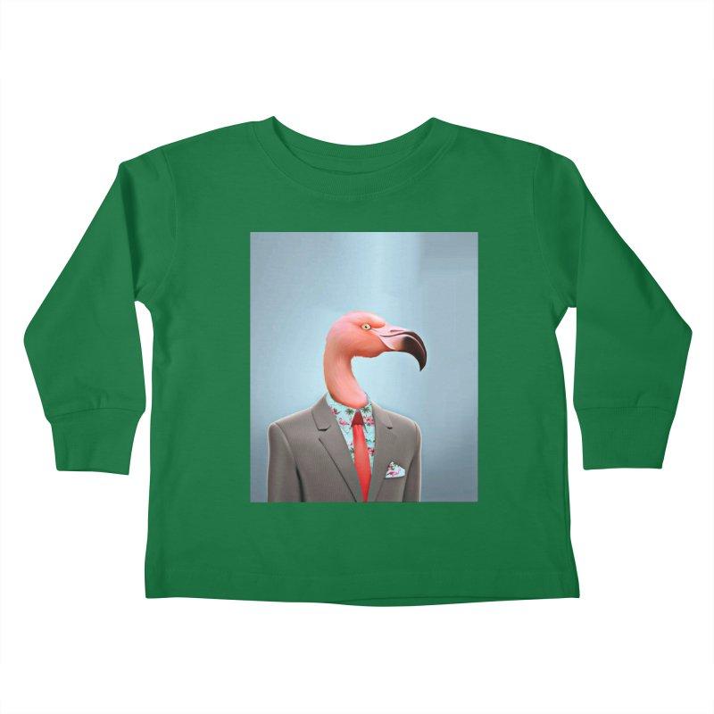 Flamingo Suit Kids Toddler Longsleeve T-Shirt by Vin Zzep's Artist Shop