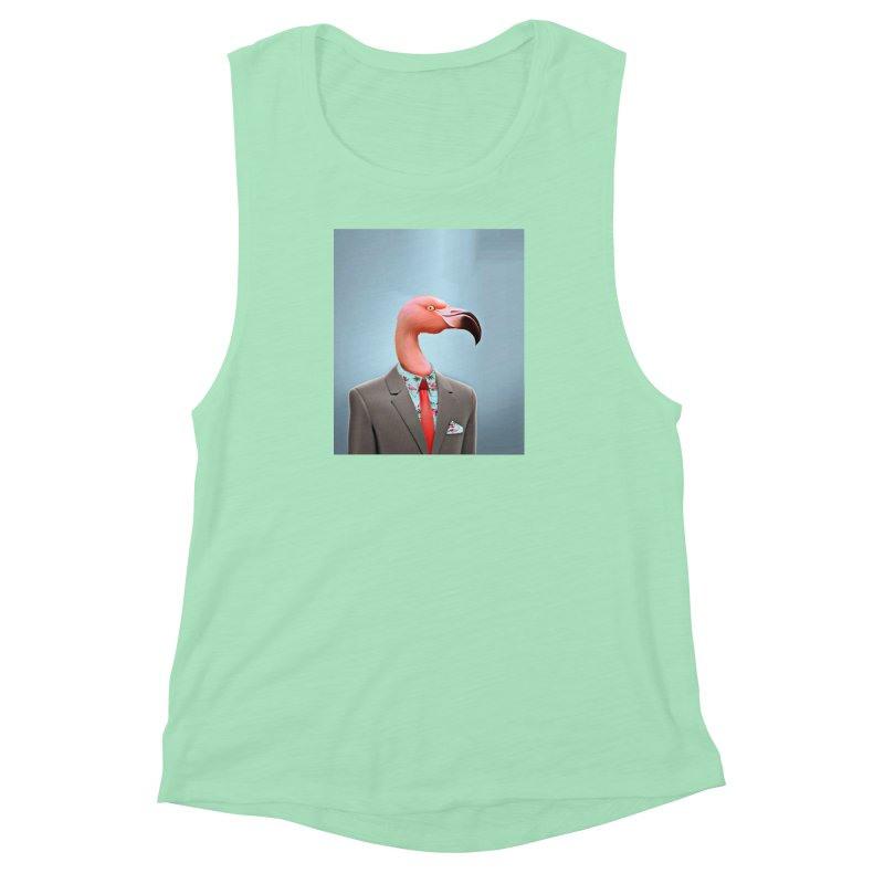 Flamingo Suit Women's Muscle Tank by Vin Zzep's Artist Shop