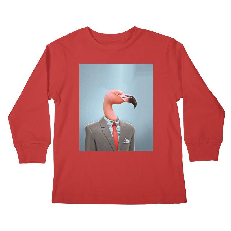 Flamingo Suit Kids Longsleeve T-Shirt by Vin Zzep's Artist Shop