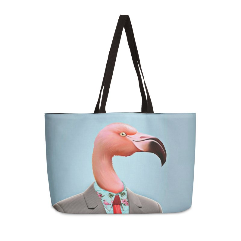 Flamingo Suit Accessories Weekender Bag Bag by Vin Zzep's Artist Shop