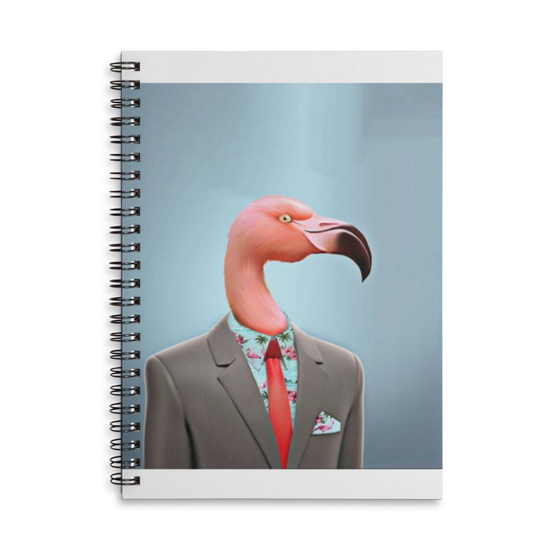 Flamingo Suit Accessories Lined Spiral Notebook by Vin Zzep's Artist Shop