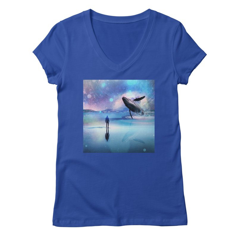 The Sound of Whales Women's Regular V-Neck by Vin Zzep's Artist Shop