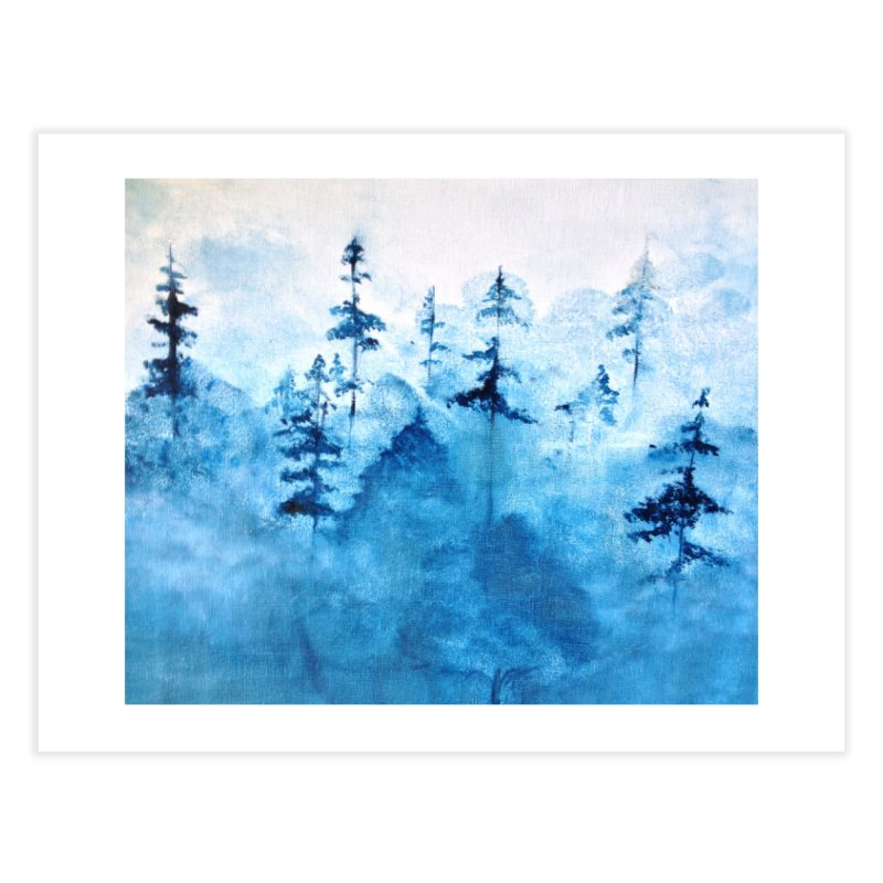 Blue Forest Home Fine Art Print by violetCreations's Artist Shop