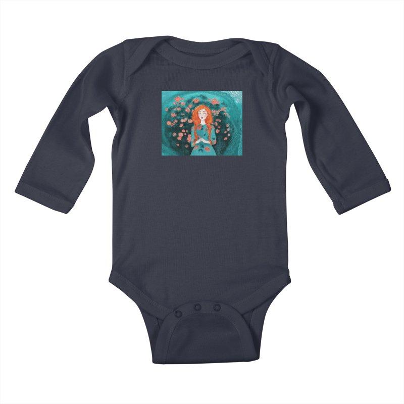 Rose Red Kids Baby Longsleeve Bodysuit by violetCreations's Artist Shop