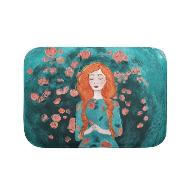 Rose Red Home Bath Mat by violetCreations's Artist Shop