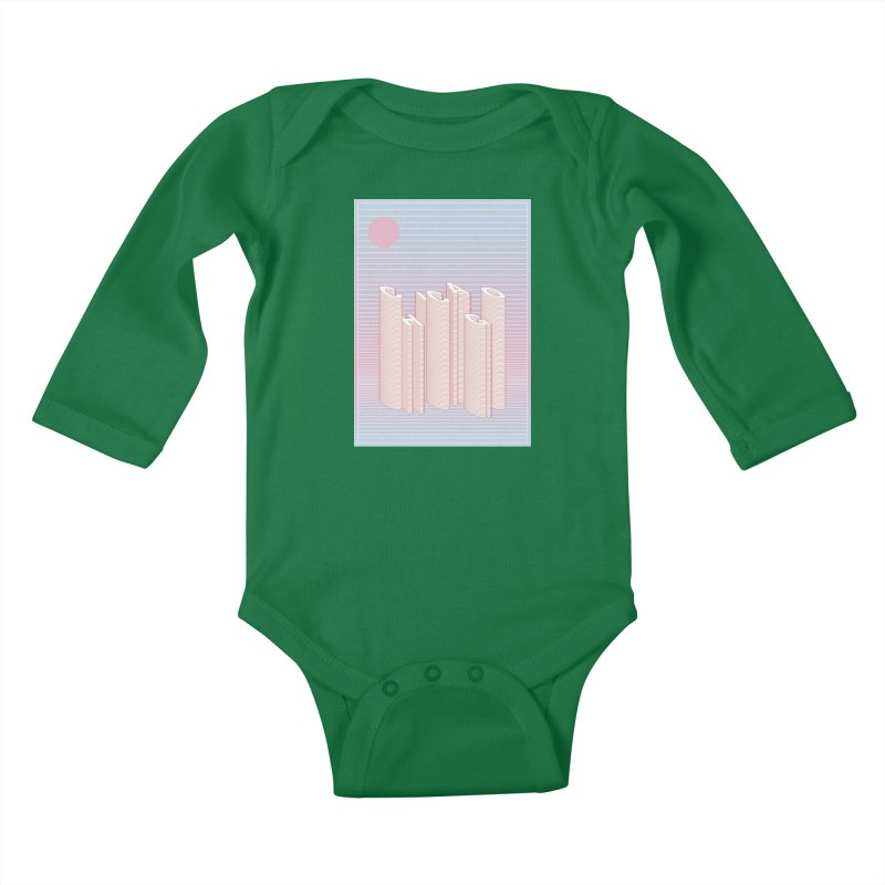 Chicago City Minimal Skyline Kids Baby Longsleeve Bodysuit by virbia's Artist Shop