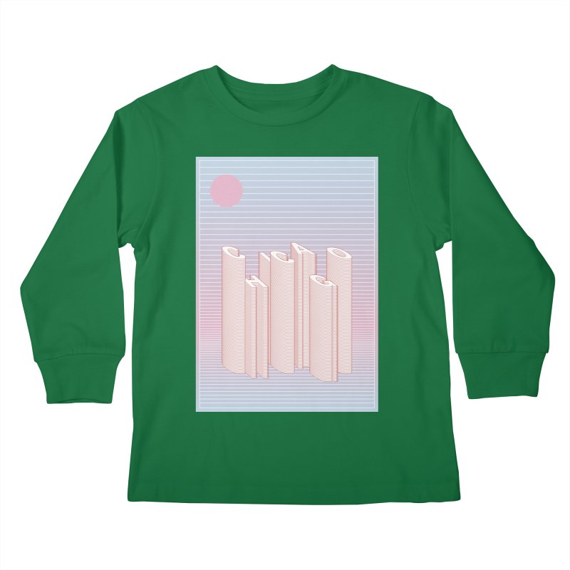 Chicago City Minimal Skyline Kids Longsleeve T-Shirt by virbia's Artist Shop