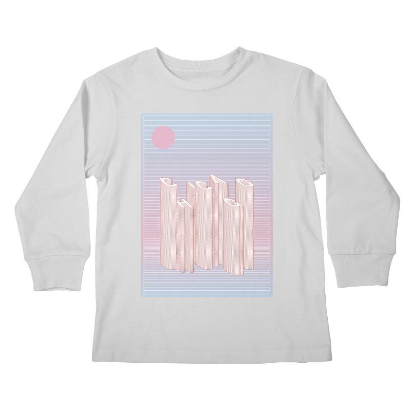 Chicago City Minimal Skyline Kids Longsleeve T-Shirt by virbia's Artist Shop