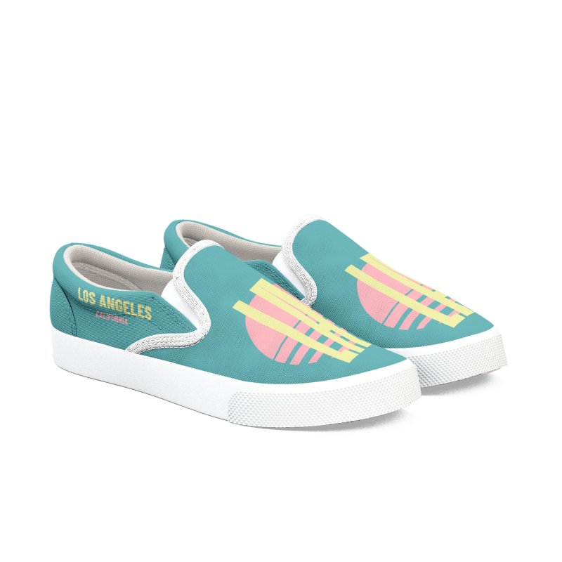 LA Los Angeles California sunset Men's Slip-On Shoes by virbia's Artist Shop