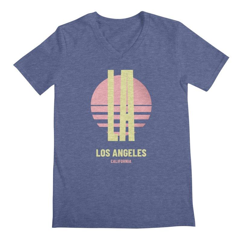 LA Los Angeles California sunset Men's Regular V-Neck by virbia's Artist Shop