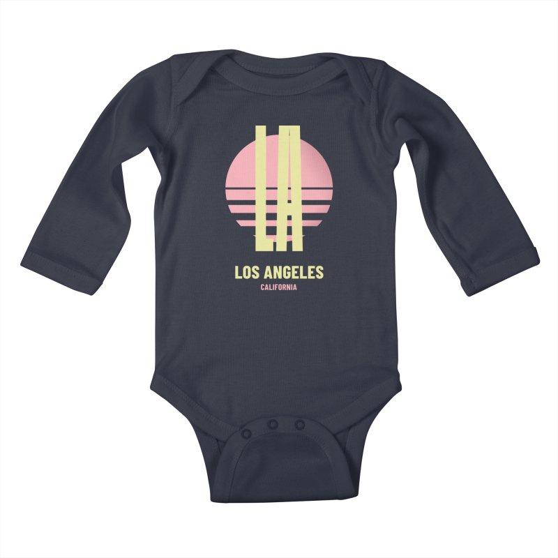 LA Los Angeles California sunset Kids Baby Longsleeve Bodysuit by virbia's Artist Shop