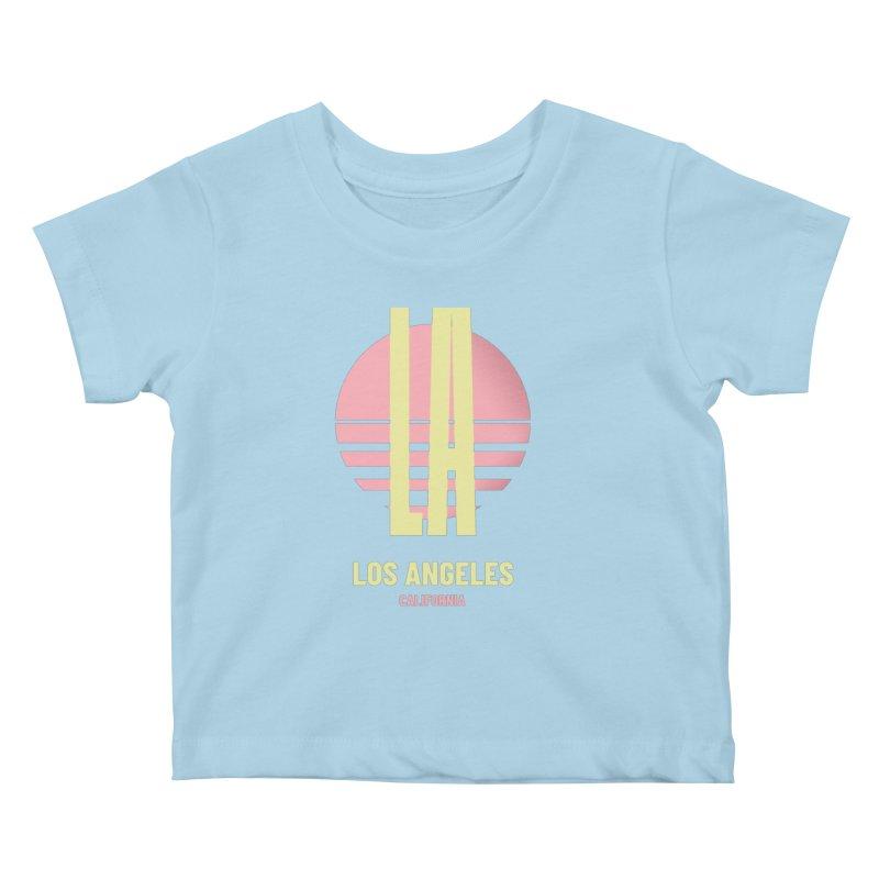 LA Los Angeles California sunset Kids Baby T-Shirt by virbia's Artist Shop