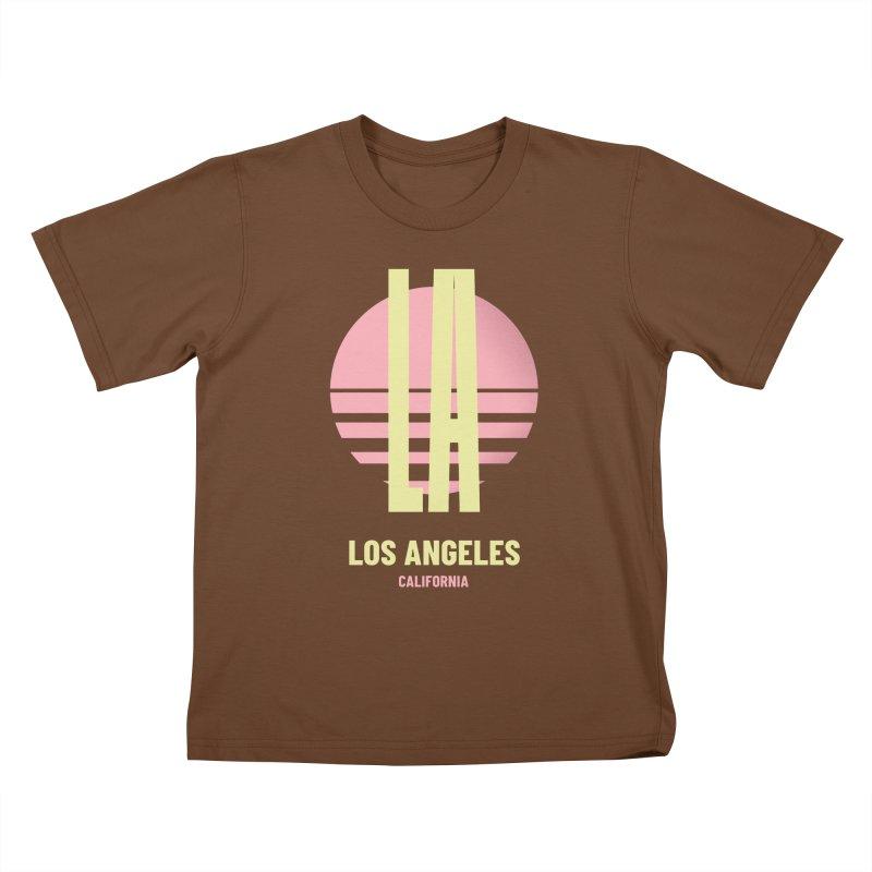 LA Los Angeles California sunset Kids T-Shirt by virbia's Artist Shop