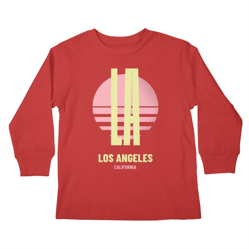 LA Los Angeles California sunset Kids Longsleeve T-Shirt by virbia's Artist Shop