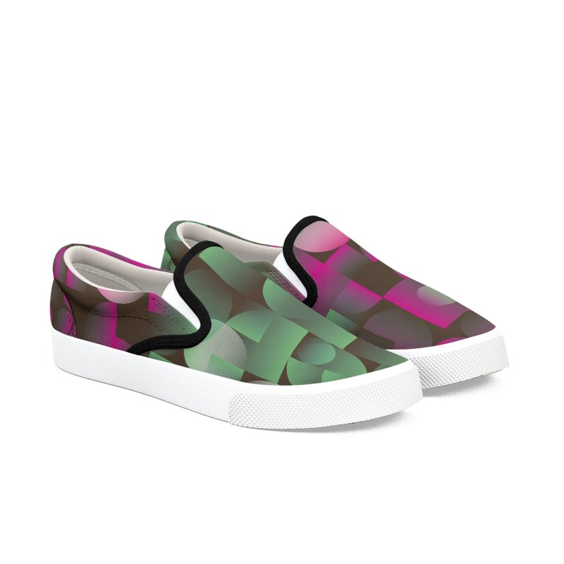 Winter geometric pattern Women's Slip-On Shoes by virbia's Artist Shop
