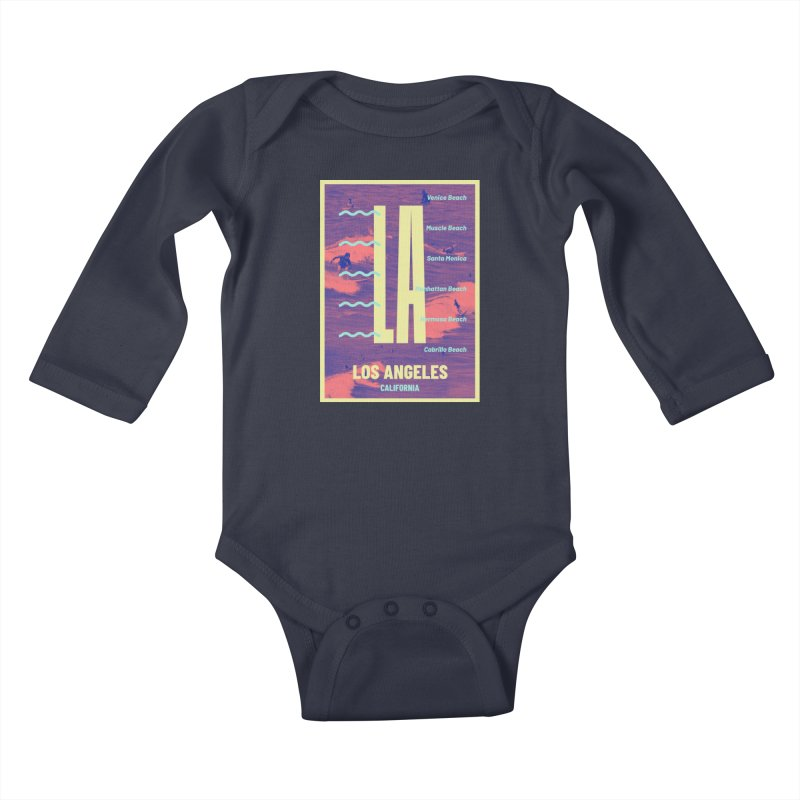 Los Angeles California Kids Baby Longsleeve Bodysuit by virbia's Artist Shop