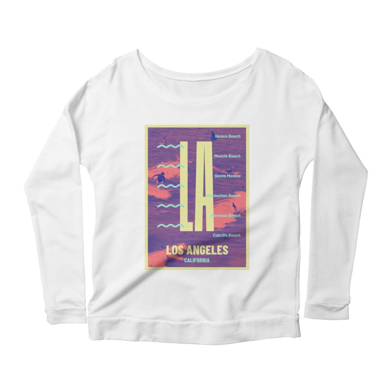 Los Angeles California Women's Longsleeve Scoopneck  by virbia's Artist Shop