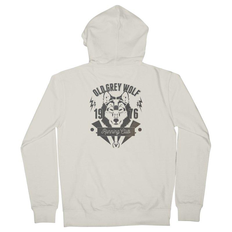 Grey Wolf running Vintage Men's Zip-Up Hoody by virbia's Artist Shop