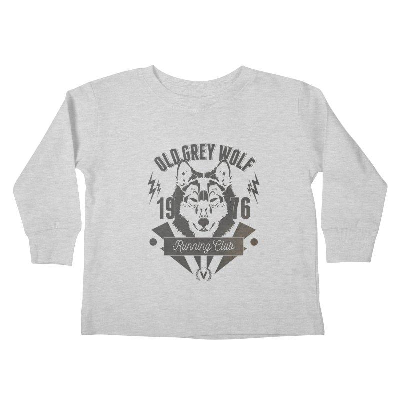 Grey Wolf running Vintage Kids Toddler Longsleeve T-Shirt by virbia's Artist Shop