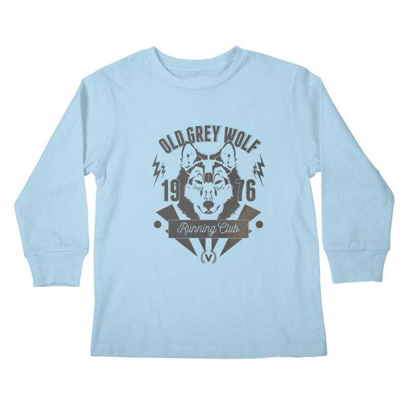 Grey Wolf running Vintage Kids Longsleeve T-Shirt by virbia's Artist Shop
