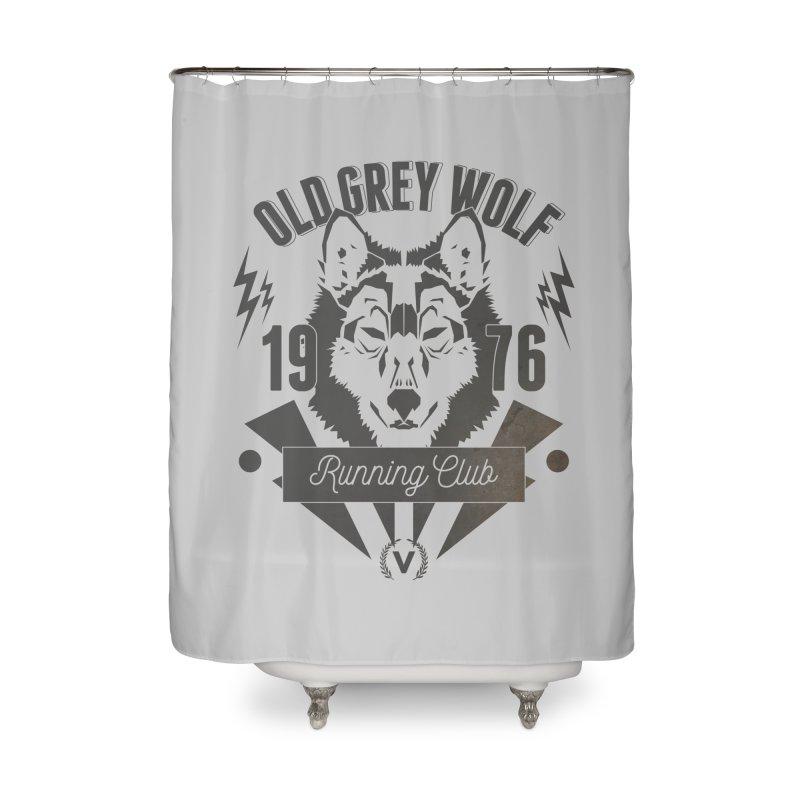 Grey Wolf running Vintage Home Shower Curtain by virbia's Artist Shop