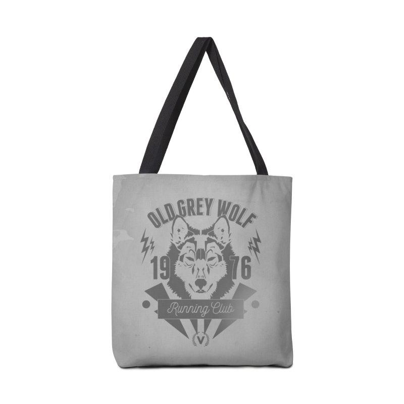 Grey Wolf running Vintage Accessories Bag by virbia's Artist Shop