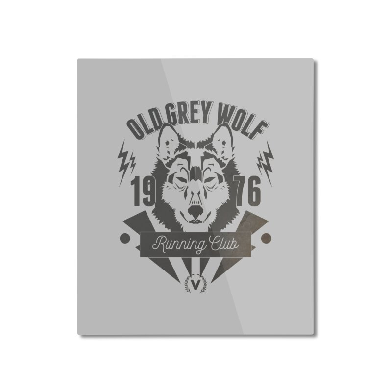 Grey Wolf running Vintage Home Mounted Aluminum Print by virbia's Artist Shop