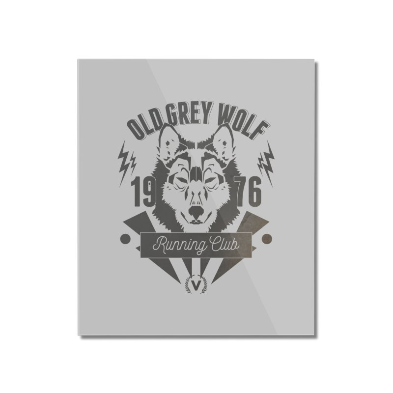 Grey Wolf running Vintage Home Mounted Acrylic Print by virbia's Artist Shop