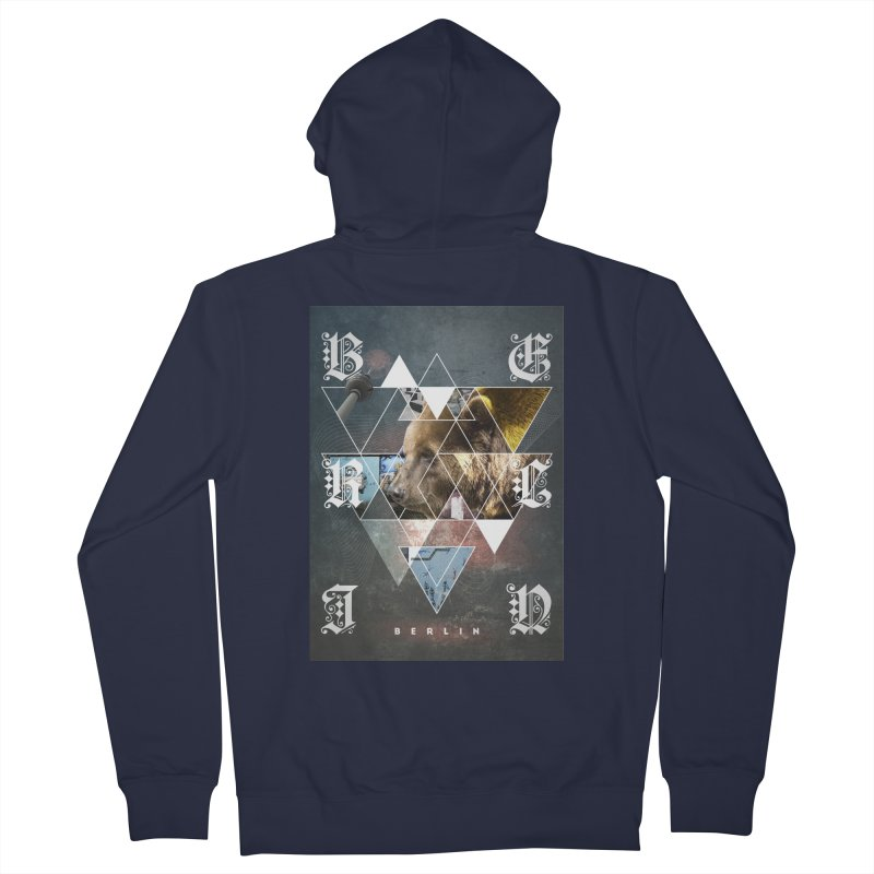 Berlin bear wall Men's French Terry Zip-Up Hoody by virbia's Artist Shop
