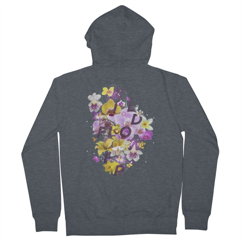 Wild Flower Men's French Terry Zip-Up Hoody by virbia's Artist Shop