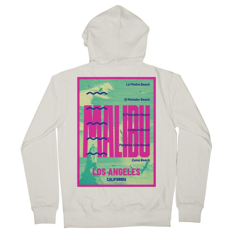Malibu California beach Men's French Terry Zip-Up Hoody by virbia's Artist Shop