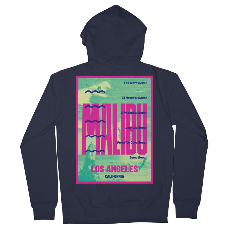 Malibu California beach Men's French Terry Zip-Up Hoody by virbia's Artist Shop