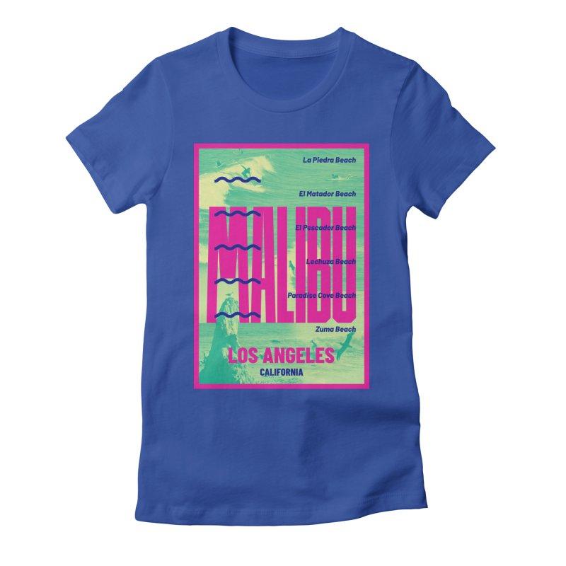 Malibu California beach Women's Fitted T-Shirt by virbia's Artist Shop