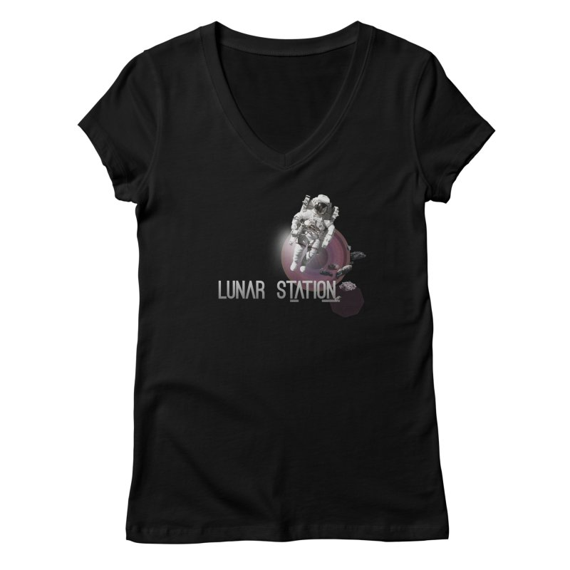 Lunar Station Women's V-Neck by virbia's Artist Shop