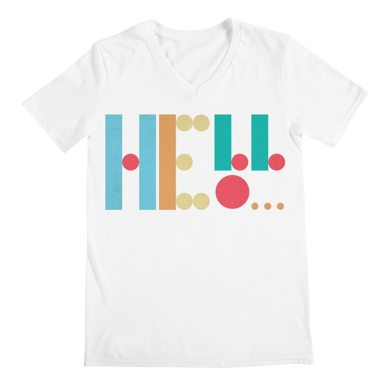 Retro Hello Men's Regular V-Neck by virbia's Artist Shop