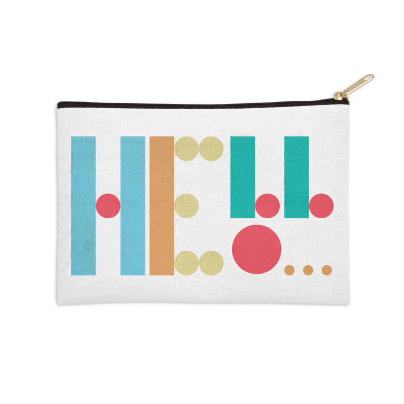 Retro Hello Accessories Zip Pouch by virbia's Artist Shop