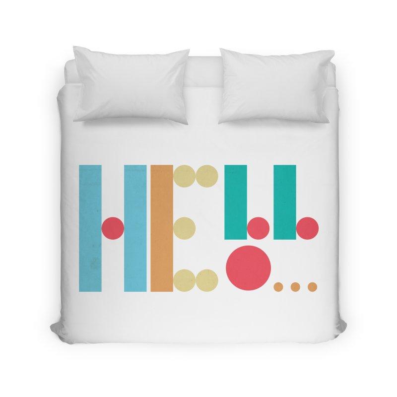 Retro Hello Home Duvet by virbia's Artist Shop