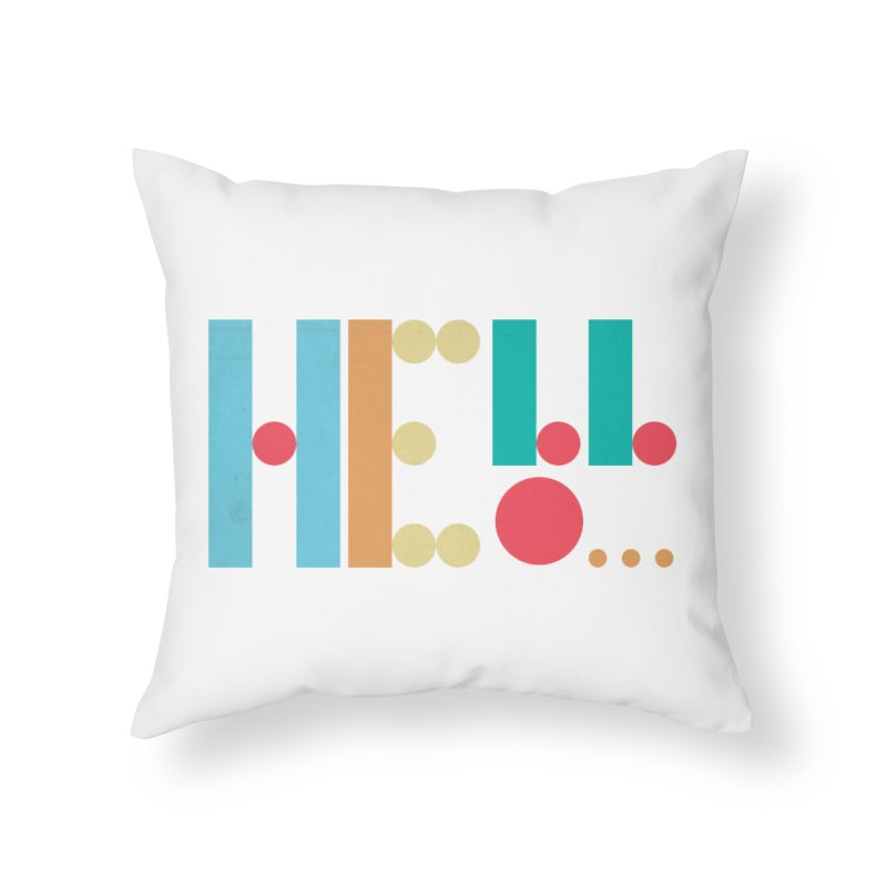 Retro Hello Home Throw Pillow by virbia's Artist Shop