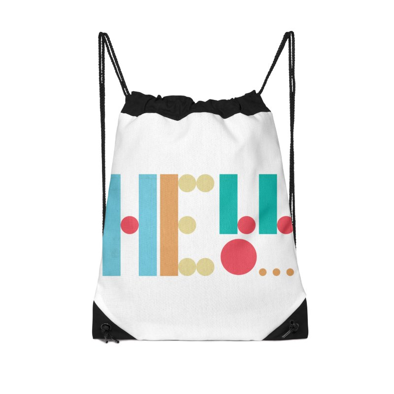 Retro Hello Accessories Drawstring Bag Bag by virbia's Artist Shop