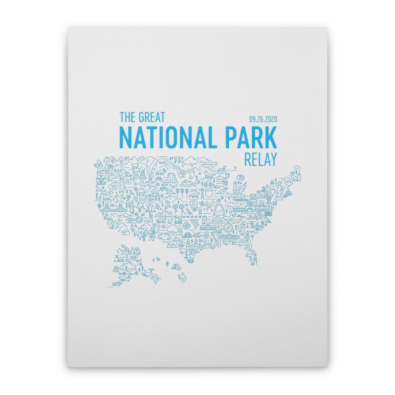 The Great National Park Relay Shirt Home Stretched Canvas by Virtual Running Club Merch