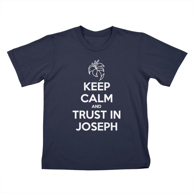 Keep Calm (white) Kids T-Shirt by Virtual St. Joseph Altar's Shop