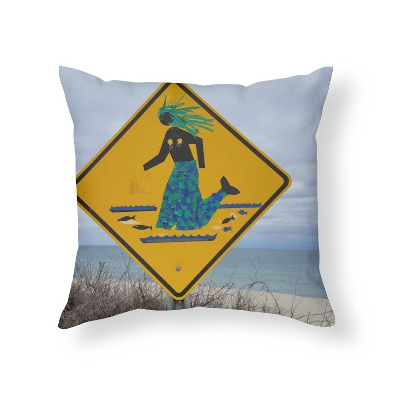 Mermaid Crossing Home Throw Pillow by visitmv's Shop